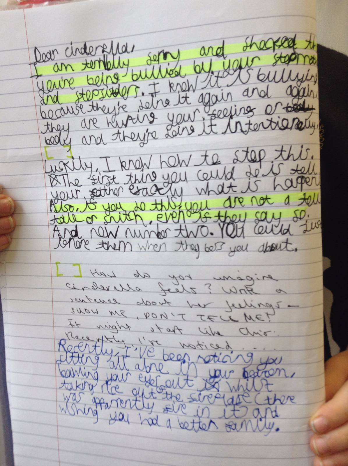 letter writing about bullying in schools