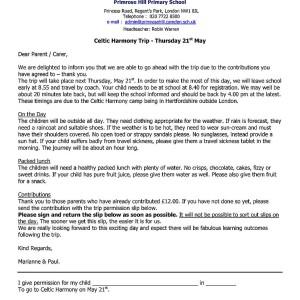 Sample School Trip Letter To Parents