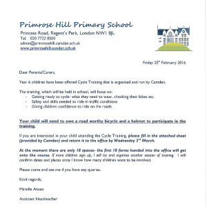 Letters home primrose hill primary school cycle training letter consent form yr6 spiritdancerdesigns Image collections