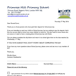 Letters Home Primrose Hill Primary School
