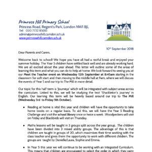 Letters Home - Primrose Hill Primary School