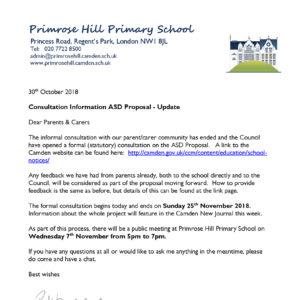 Med School Update Letter.Letters Home Primrose Hill Primary School